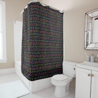 funky retro bold on black shower curtain