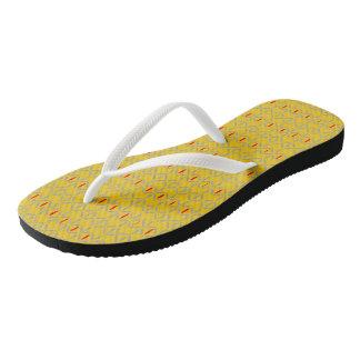 funky retro bold on mustard flip flops