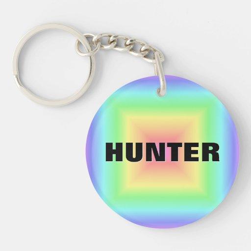 Funky Retro Bright Pastel Rainbow Abstract Blur Keychain