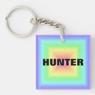 Funky Retro Bright Pastel Rainbow Abstract Blur Square Acrylic Key Chain