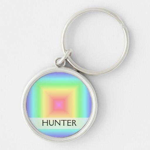 Funky Retro Bright Pastel Rainbow Abstract Blur Key Chain