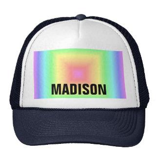 Funky Retro Bright Pastel Rainbow Geometric Blur Trucker Hat