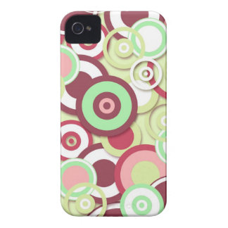 Funky Retro Circles Pattern in Pinks and Greens iPhone 4 Case