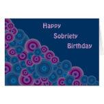 Funky Retro Circles Sobriety Birthday Card