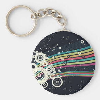 Funky Retro Circles Vector blue Key Chains