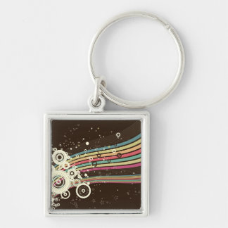 Funky Retro Circles Vector brown Key Chains
