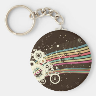 Funky Retro Circles Vector brown Key Chain