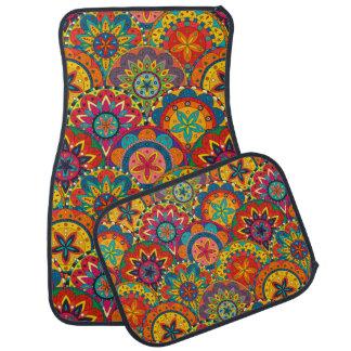 Funky Retro Colorful Mandala Pattern Car Mat