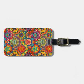 Funky Retro Colorful Mandala Pattern Luggage Tag