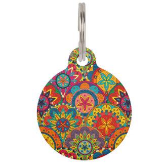 Funky Retro Colorful Mandala Pattern Pet Name Tag