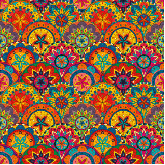 Funky Retro Colorful Mandala Pattern Photo Sculpture Decoration