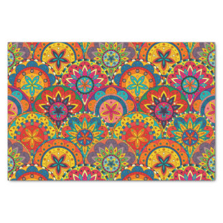 Funky Retro Colorful Mandala Pattern Tissue Paper