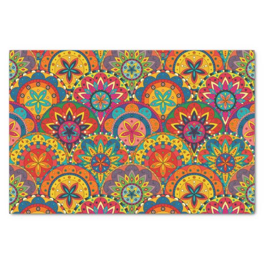 Funky Retro Colourful Mandala Pattern Tissue Paper