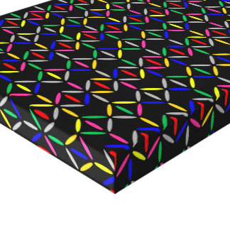 Funky retro diamond bars colourful canvas
