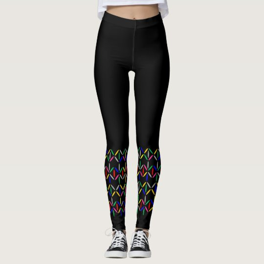 Funky retro diamond stripe leggings multicolour