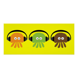 Funky Retro DJ Jellyfish With Headphones Custom Poster