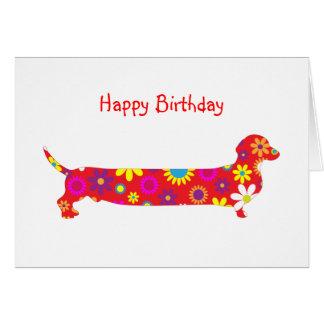 Funky retro floral cartoon dachshund dog birthday greeting card