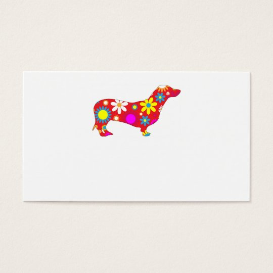 Funky retro floral dachshund dog business card