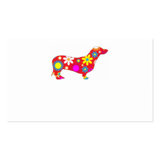 Funky retro floral dachshund dog business card