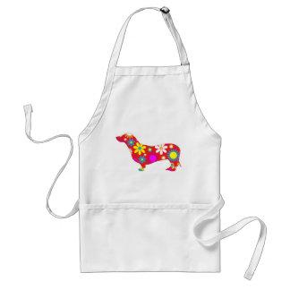 Funky retro floral dachshund dog fun cute adult apron