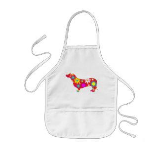 Funky retro floral dachshund dog fun cute kids apron