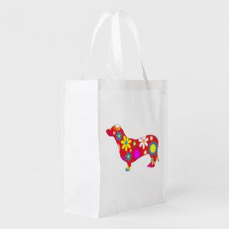 Funky, retro, floral, flowery dachshund dog cute