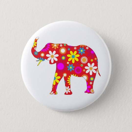 Funky retro floral flowery flower elephant pin