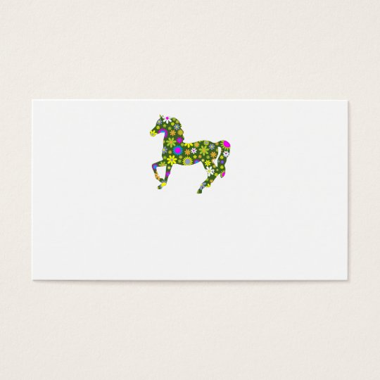 Funky retro floral prancing horse business card
