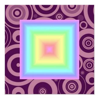 "Funky Retro Girly Bright Pastel Rainbow Blur 5.25"" Square Invitation Card"