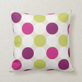 Funky Retro Green and Purple Dots Cushion