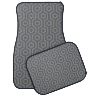 Funky Retro Grey Hexagonal Geometric Pattern Car Mat