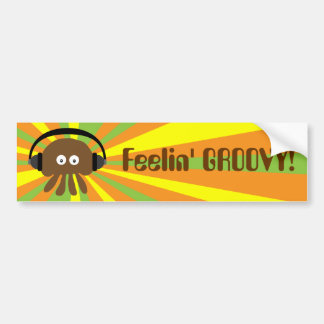 Funky Retro Jellyfish With Headphones Psychedelic Bumper Sticker