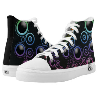 Funky Retro Multicolor Circles on Black High Tops