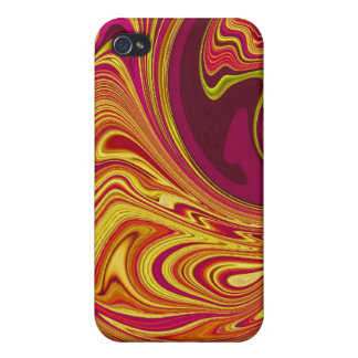 Funky Retro Orange Swirl iPhone 4/4S Covers