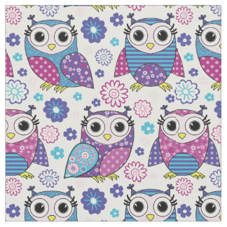 Funky Retro Owls Fabric