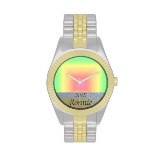 Funky Retro Pastel Rainbow Geometric Abstract Blur Watches