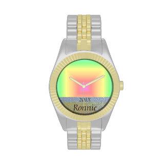 Funky Retro Pastel Rainbow Geometric Abstract Blur Wrist Watch