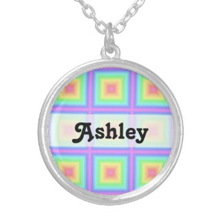 Funky Retro Pastel Rainbow Geometric Abstract Blur Necklaces