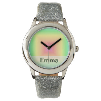 Funky Retro Pastel Rainbow Geometric Abstract Blur Watches