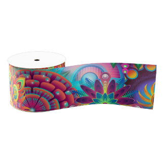 Funky Retro Pattern Abstract Bohemian Grosgrain Ribbon