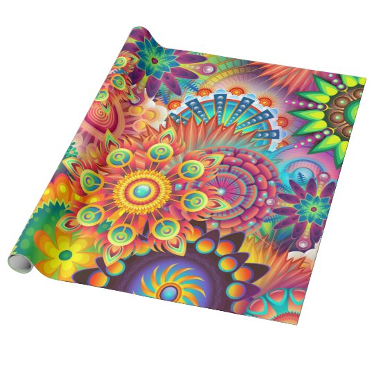 Funky Retro Pattern Abstract Boho Wrapping Paper