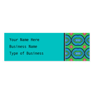Funky Retro Pattern. Blue, Green, Pink and Multi. Business Card Template
