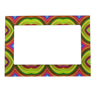 Funky Retro Pattern. Green, Orange and Multi. Magnetic Frame