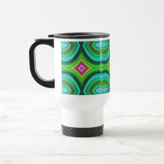 Funky Retro Pattern. Green, Turquoise and Multi. Travel Mug