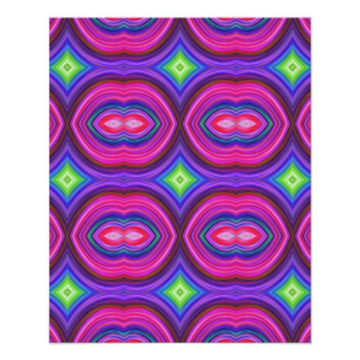 Funky Retro Pattern. Pink, Purple and Multicolor. Flyers