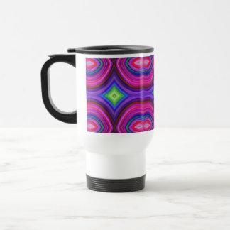 Funky Retro Pattern. Pink, Purple and Multicolor. Travel Mug