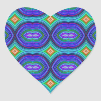 Funky Retro Pattern. Purple, Turquoise and Multi. Heart Sticker