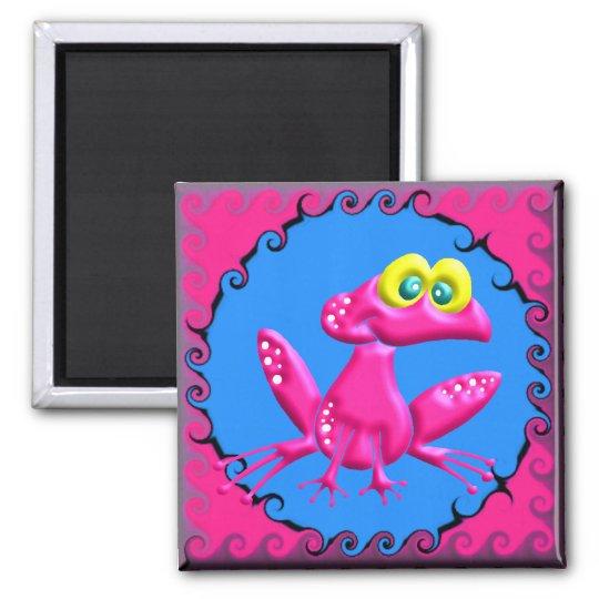 Funky Retro Pink Frog Magnet