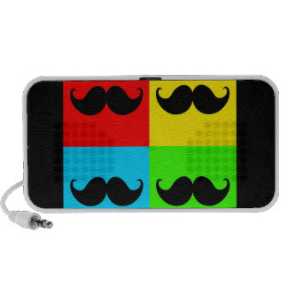 Funky Retro Pop Art Mustache Moustache Stache iPod Speakers