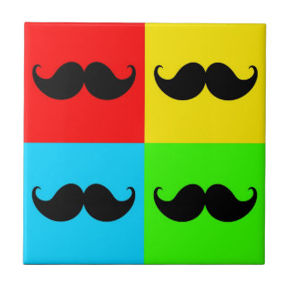 Funky Retro Pop Art Mustache Moustache Stache Tile
